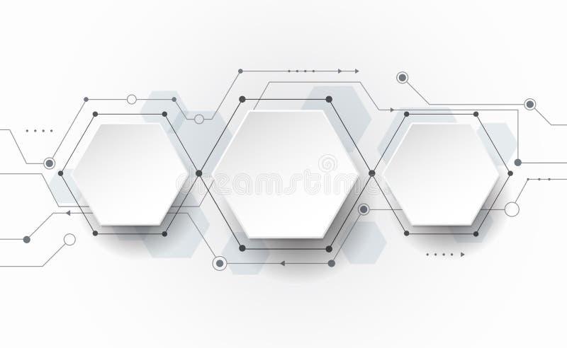 Wektorowa Abstrakcjonistyczna futurystyczna obwód deska na świetle - szary tło, techniki technologii cyfrowej pojęcie ilustracji