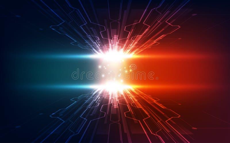 Wektorowa Abstrakcjonistyczna futurystyczna wysoka prędkość, Ilustracyjnej wysokiej technologii cyfrowej błękitny kolor royalty ilustracja