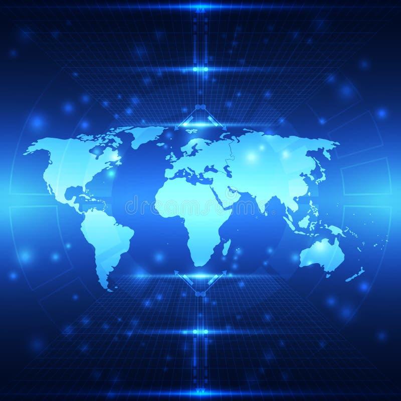 Wektorowa abstrakcjonistyczna globalna przyszłościowa technologia, elektryczny telekomunikacyjny tło ilustracja wektor
