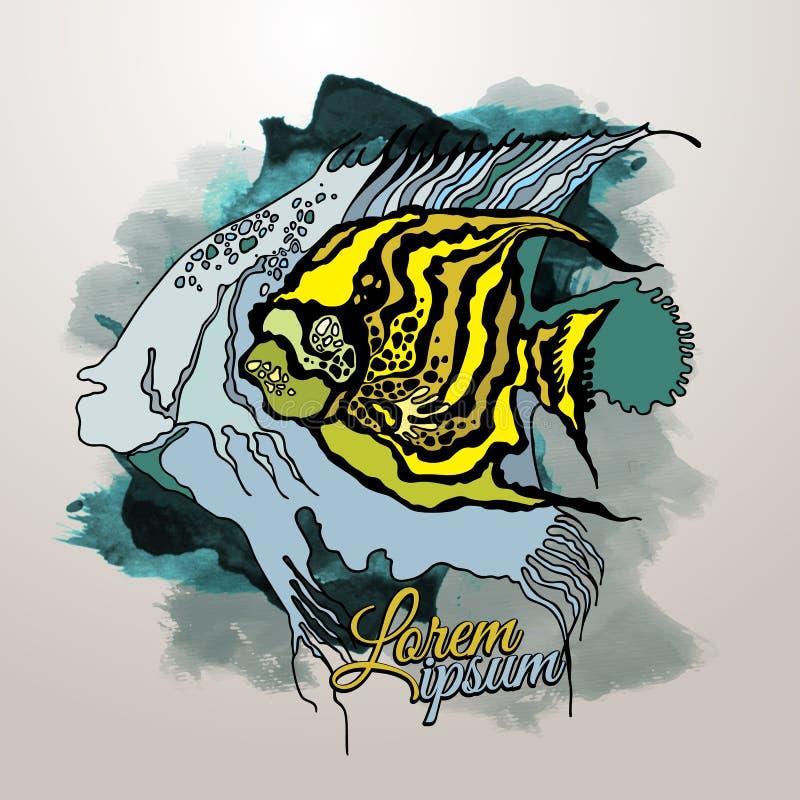 Wektorowa Abstrakcjonistyczna grafiki ryba royalty ilustracja