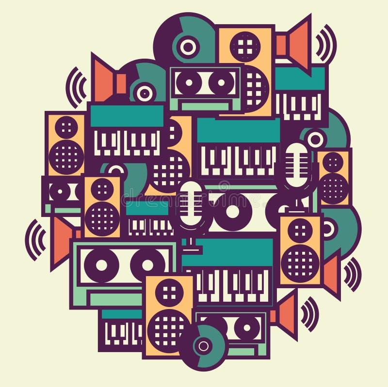 Wektorowa abstrakcjonistyczna ilustracja audia i dźwięka ikony: audio kaseta, muzyka rejestr, dynamiczny, głośnikowy, mikrofon i  royalty ilustracja