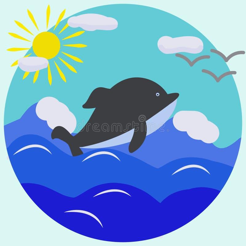 Wektorowa abstrakcjonistyczna ilustracja delfin, morze, słońce, chmurnieje w okręgu ilustracji