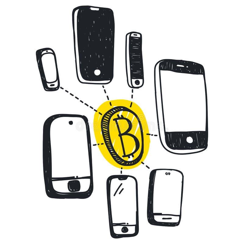 Wektorowa abstrakcjonistyczna ilustracyjna bitcoin technologia royalty ilustracja