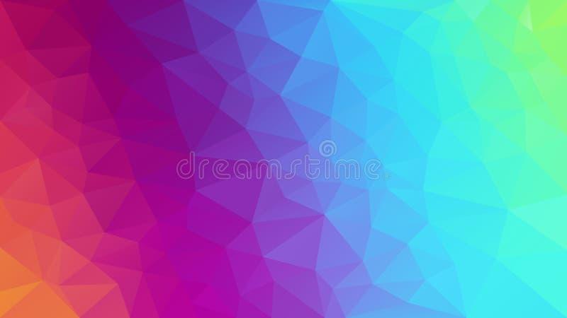 Wektorowa abstrakcjonistyczna nieregularna poligonalna tło pełnego koloru widma neonowa tęcza - diagonalny gradient ilustracja wektor