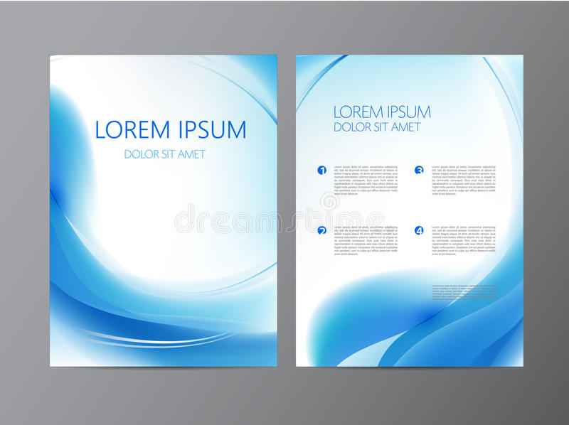 Wektorowa abstrakcjonistyczna nowożytna falista błękitna bieżąca ulotka, broszurka, okładkowy projekt royalty ilustracja