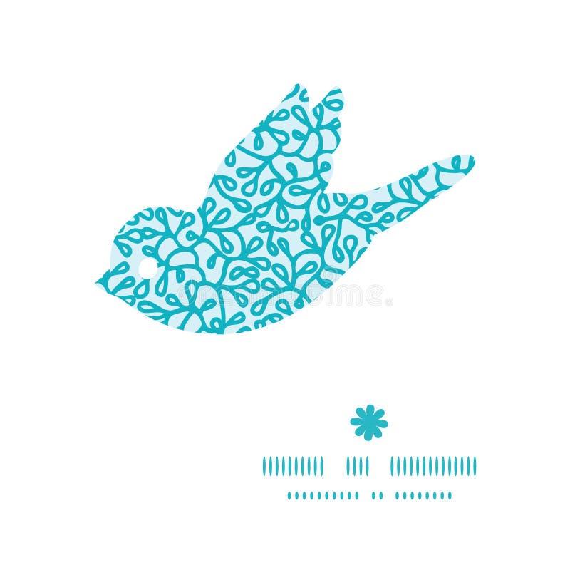 Wektorowa abstrakcjonistyczna podwodna roślina ptaka sylwetka royalty ilustracja