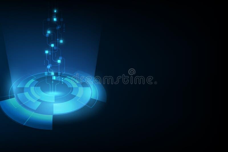 Wektorowa abstrakcjonistyczna przyszłościowa technologia, elektryczny telekomunikacyjny tło ilustracji