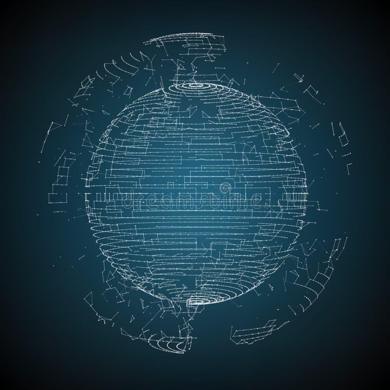 Wektorowa abstrakcjonistyczna sfera cząsteczki, punktu szyk futurystyczny wektor ilustracyjny ilustracji