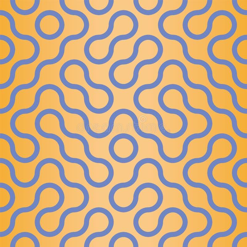 Wektorowa abstrakcjonistyczna Truchet falista stylowa bezszwowa deseniowa powtórka ilustracji