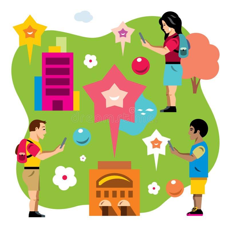 Wektorowa Abstrakcjonistyczna wirtualna mobilna gra Mieszkanie kreskówki stylowa kolorowa ilustracja ilustracja wektor