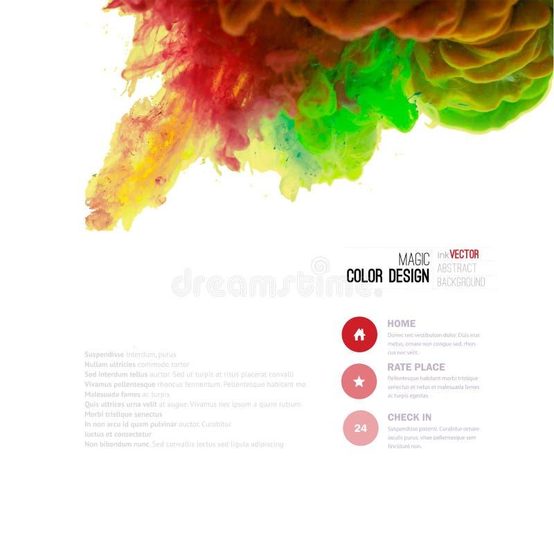Wektorowa abstrakt chmura Atrament wiruje w wodzie, chmura atrament w wa royalty ilustracja