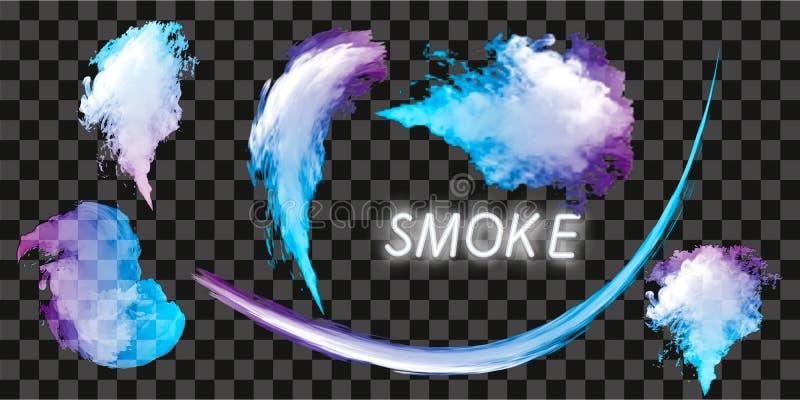 Wektorowa abstrakt chmura Atrament wiruje w wodzie, chmura atrament w wodzie odizolowywającej na bielu Abstrakcjonistyczne sztand zdjęcia stock