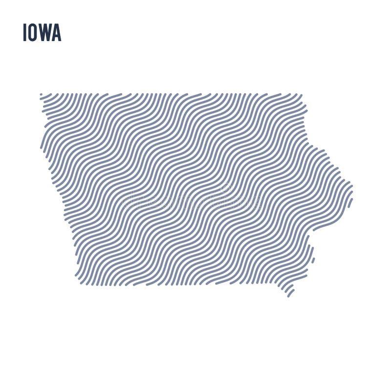 Wektorowa abstrakt fala mapa stan Iowa odizolowywał na białym tle ilustracja wektor