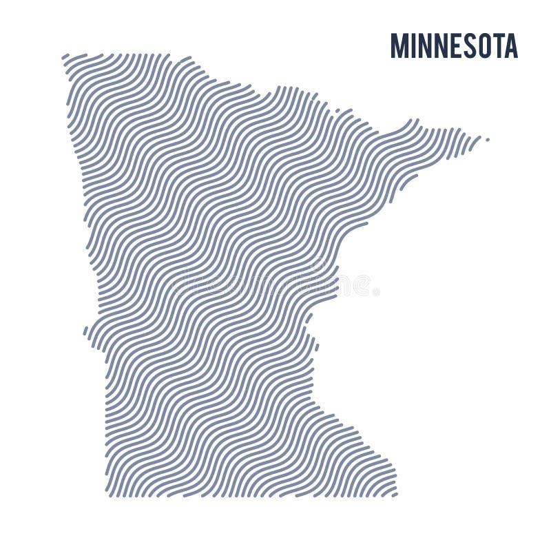 Wektorowa abstrakt fala mapa stan Minnestoa odizolowywał na białym tle ilustracja wektor