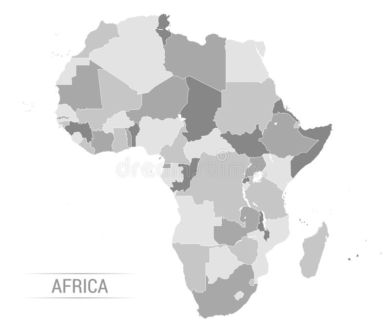 Wektorowa Afryka popielata mapa ilustracja wektor