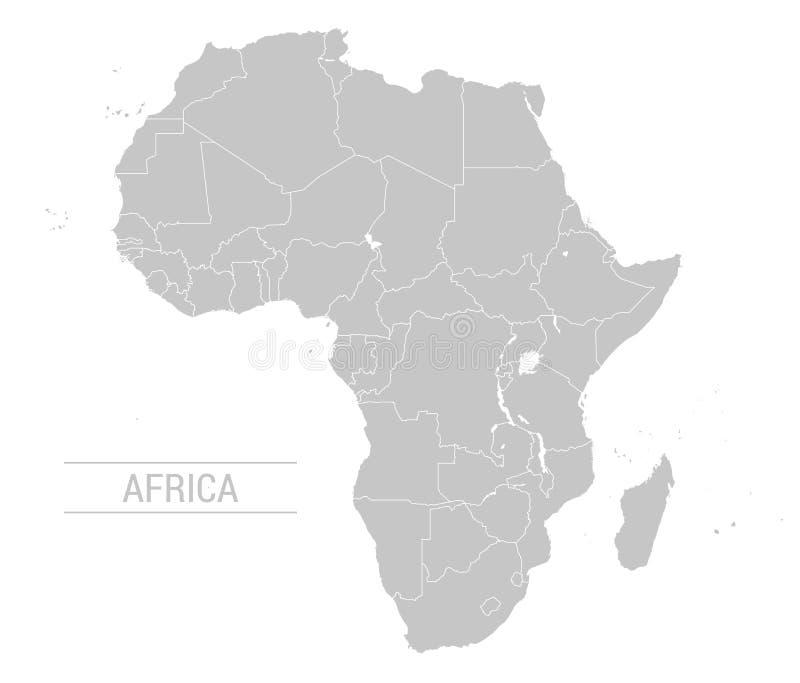 Wektorowa Afryka popielata mapa royalty ilustracja