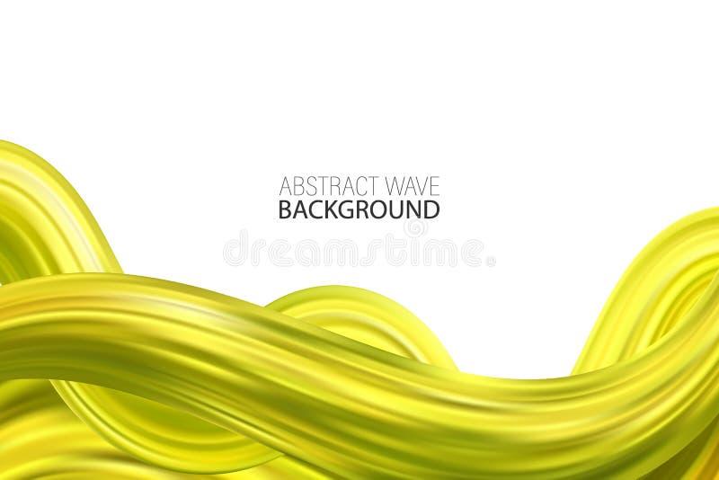 Wektorowa Akrylowa farba abstrakcjonistycznego tła zielona fala Falowego ruchu przepływ ilustracja wektor