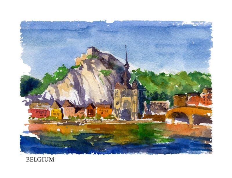 Wektorowa akwareli ilustracja Belgia sightseeings z teksta miejscem ilustracja wektor