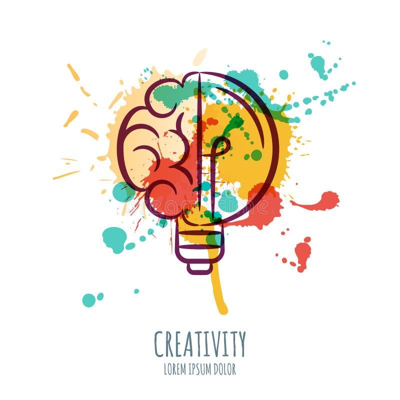 Wektorowa akwareli ilustracja mózg i żarówka Abstrakcjonistyczny akwareli tło z ludzkim mózg i żarówką ilustracji
