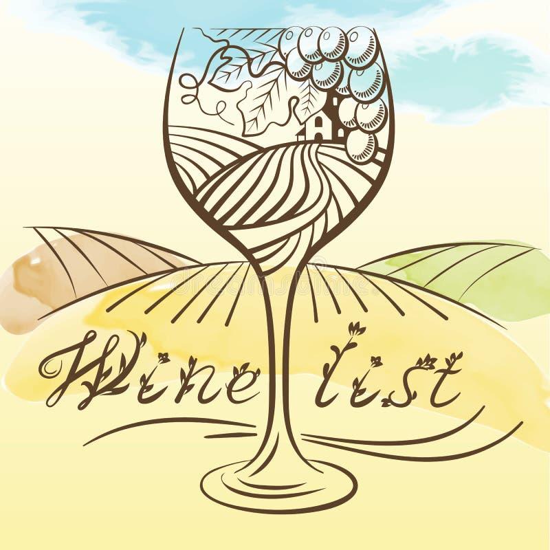 Wektorowa akwareli ilustracja winogradu winogrono i wiejski pole w wina szkle ilustracja wektor