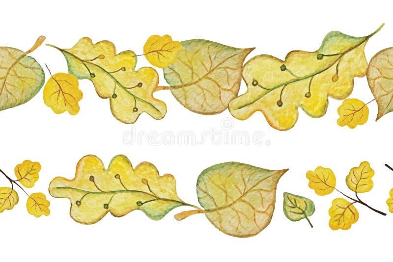 Wektorowa akwareli jesieni liści bezszwowa granica royalty ilustracja