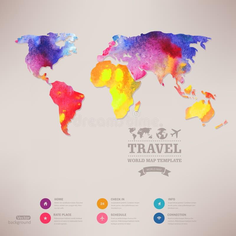 Wektorowa akwareli mapa, sieć i wisząca ozdoba szablon, Korporacyjny websit royalty ilustracja