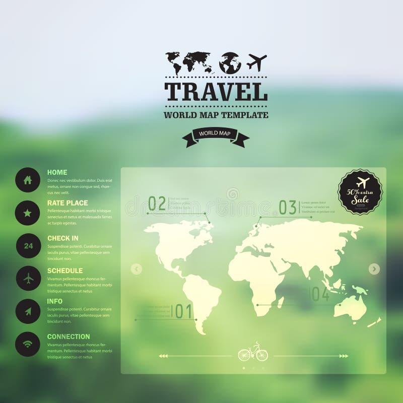 Wektorowa akwareli mapa, sieć i wisząca ozdoba szablon, Korporacyjny websit ilustracja wektor