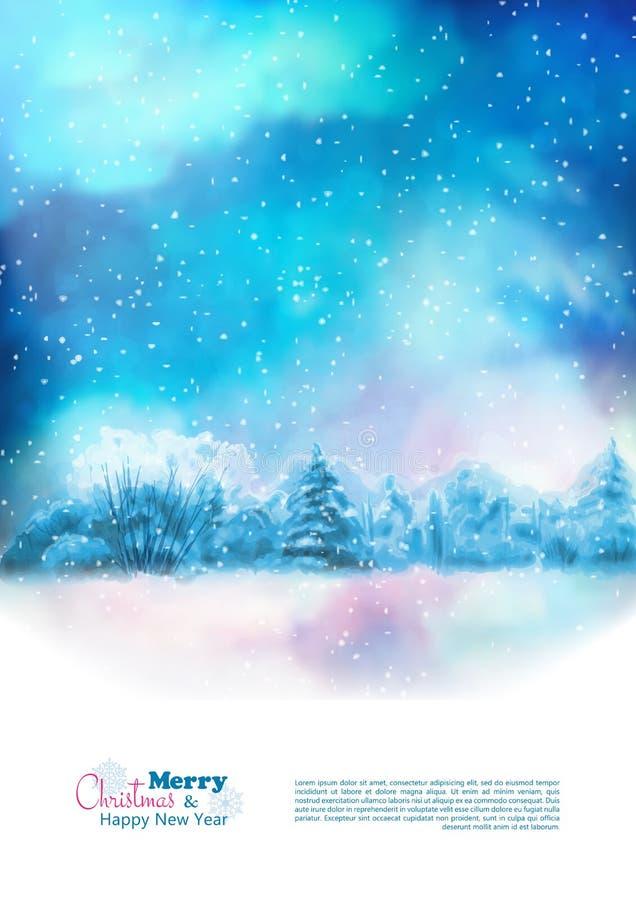 Wektorowa akwareli zimy bożych narodzeń ulotka royalty ilustracja
