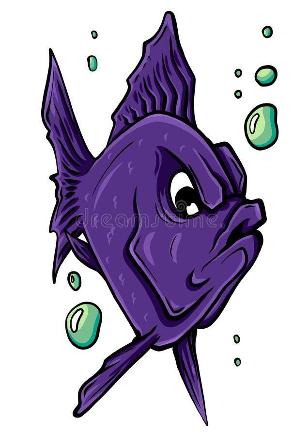 Wektorowa akwarium ryba sylwetki ilustracja Kolorowej kresk?wki akwarium ryba p?aska ikona zdjęcia stock