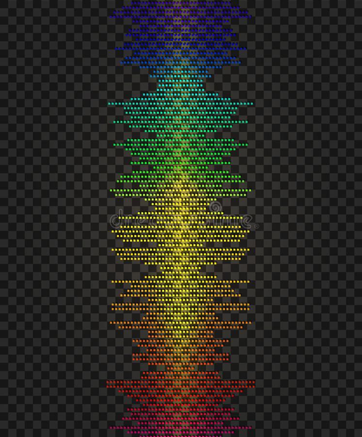 Wektorowa amplituda, Neonowa Pionowo Rozjarzona Kreskowa ilustracja, Błyszczy projekta element ilustracja wektor