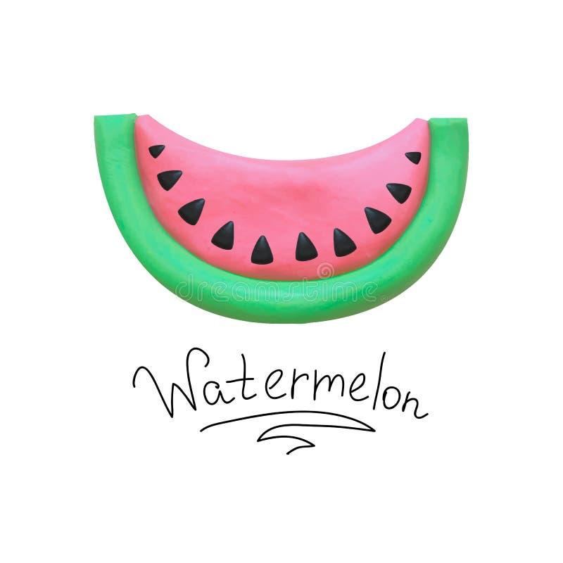 Wektorowa arbuz plasteliny ilustracja ilustracji