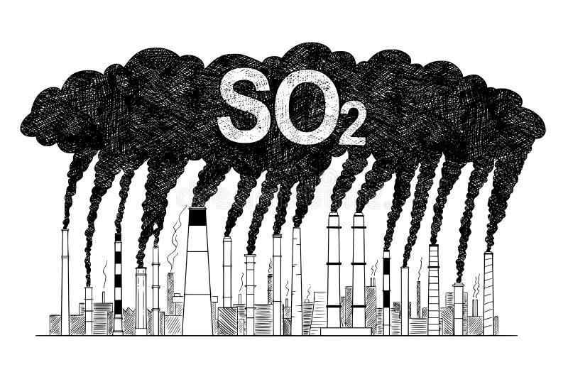 Wektorowa Artystyczna Rysunkowa ilustracja dymień Smokestacks, pojęcie przemysłu lub fabryki SO2 zanieczyszczenie powietrza ilustracji