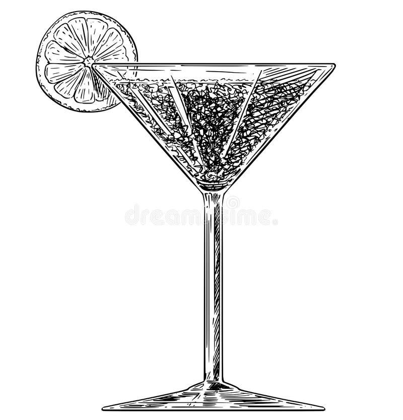 Wektorowa Artystyczna Rysunkowa ilustracja koktajlu napój w szkle ilustracji