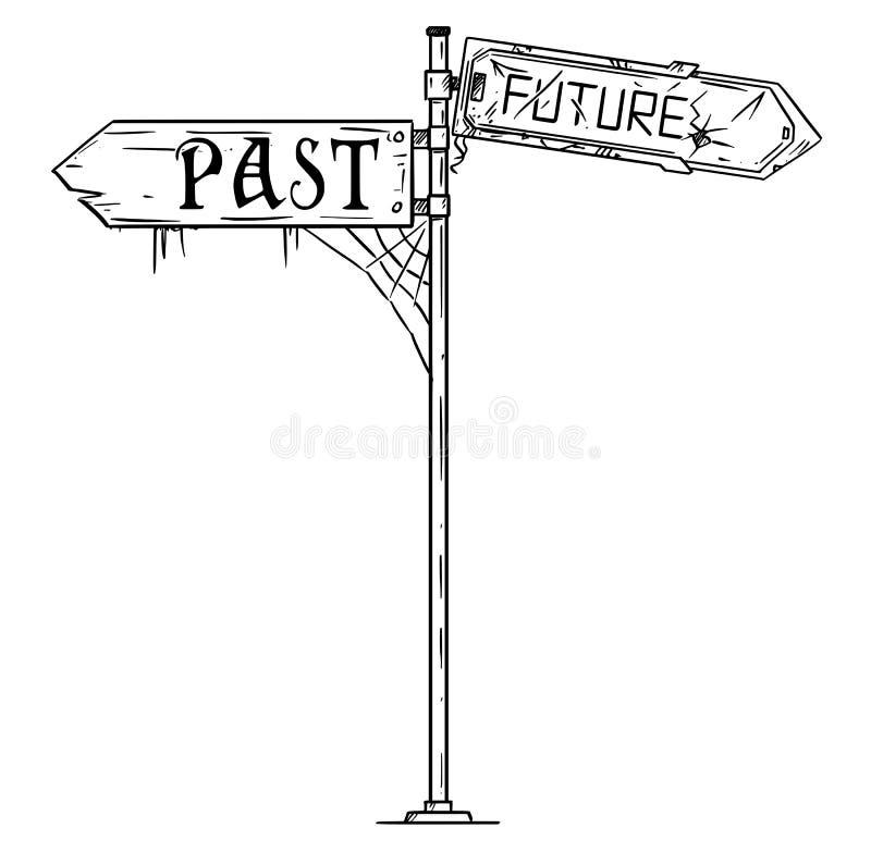 Wektorowa Artystyczna Rysunkowa ilustracja ruch drogowy strzała znak Z Past i Przyszłościowym tekstem royalty ilustracja