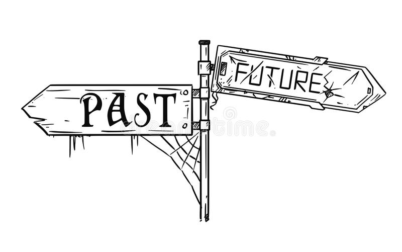 Wektorowa Artystyczna Rysunkowa ilustracja ruch drogowy strzała znak Z Past i Przyszłościowym tekstem ilustracji