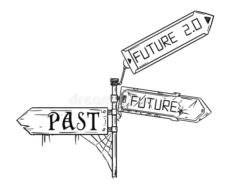 Wektorowa Artystyczna Rysunkowa ilustracja ruch drogowy strzała znak Z Past, przyszłość 2 i przyszłość, (0) tekstów ilustracja wektor