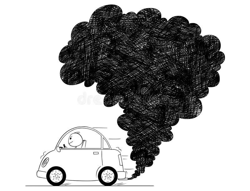Wektorowa Artystyczna Rysunkowa ilustracja Samochodowy zanieczyszczenie powietrza royalty ilustracja