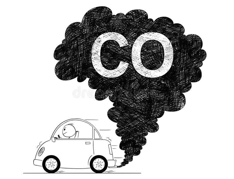 Wektorowa Artystyczna Rysunkowa ilustracja samochodu powietrza CO zanieczyszczenie ilustracja wektor