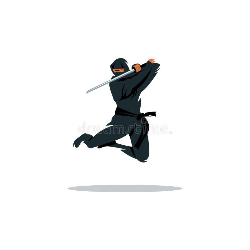 Wektorowa azjata Ninja kreskówki ilustracja Azja zabójcy wojownik ilustracji