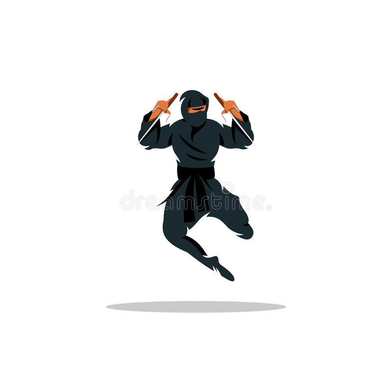 Wektorowa azjata Ninja kreskówki ilustracja Azja zabójcy wojownik ilustracja wektor