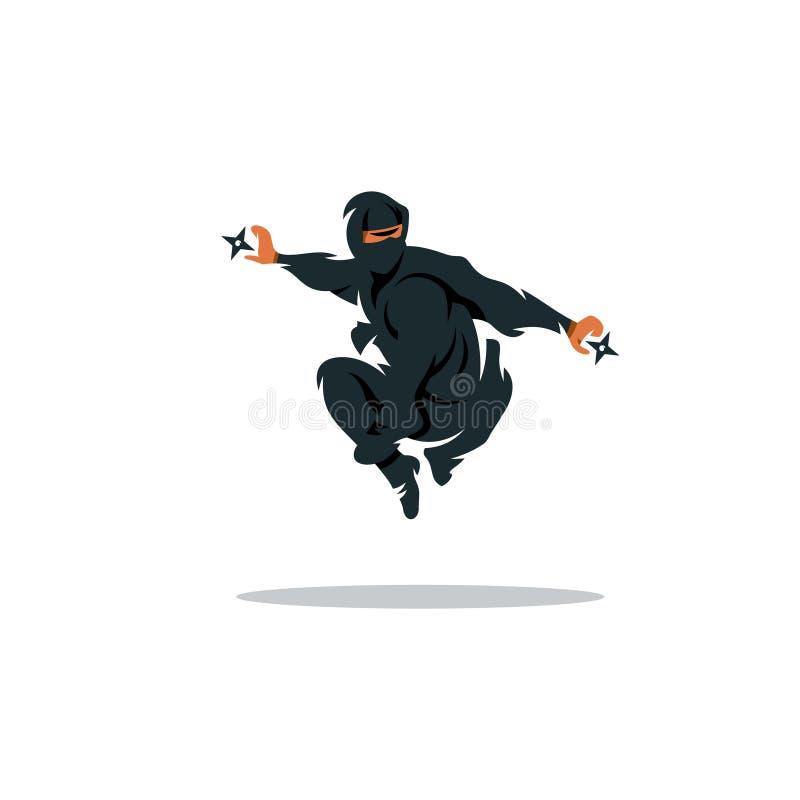 Wektorowa azjata Ninja kreskówki ilustracja Zabójcy wojownik royalty ilustracja