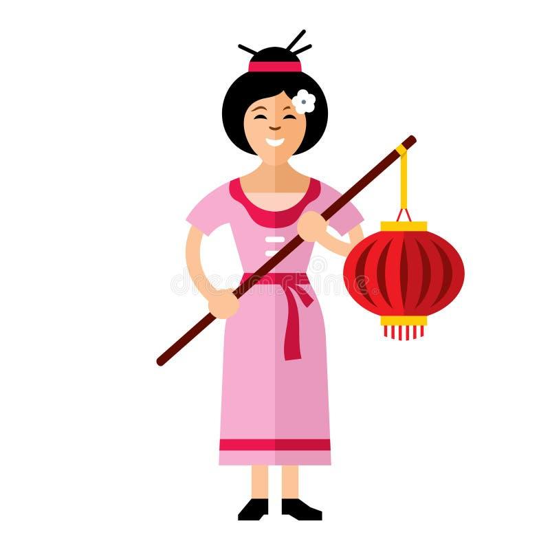 Wektorowa Azjatycka kobieta z lampionem Mieszkanie kreskówki stylowa kolorowa ilustracja ilustracja wektor