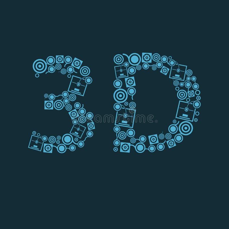 Wektorowa błękita 3d drukarki teksta ikona ilustracja wektor