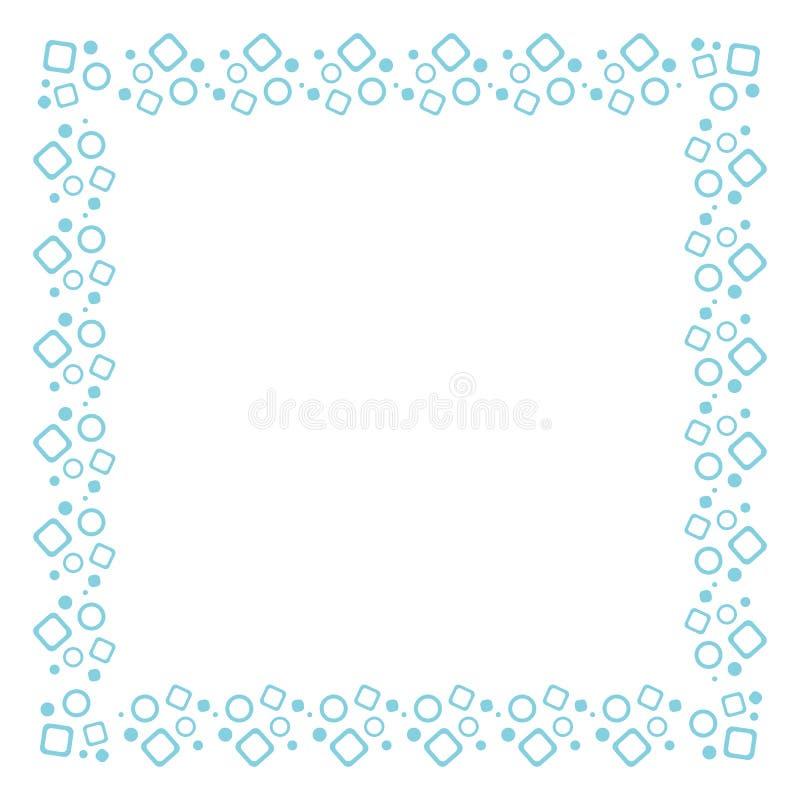 Wektorowa błękita kwadrata rama z geometrycznym wzorem okręgi i kwadraty Projekt pocztówki, broszury, zaproszenia ilustracji