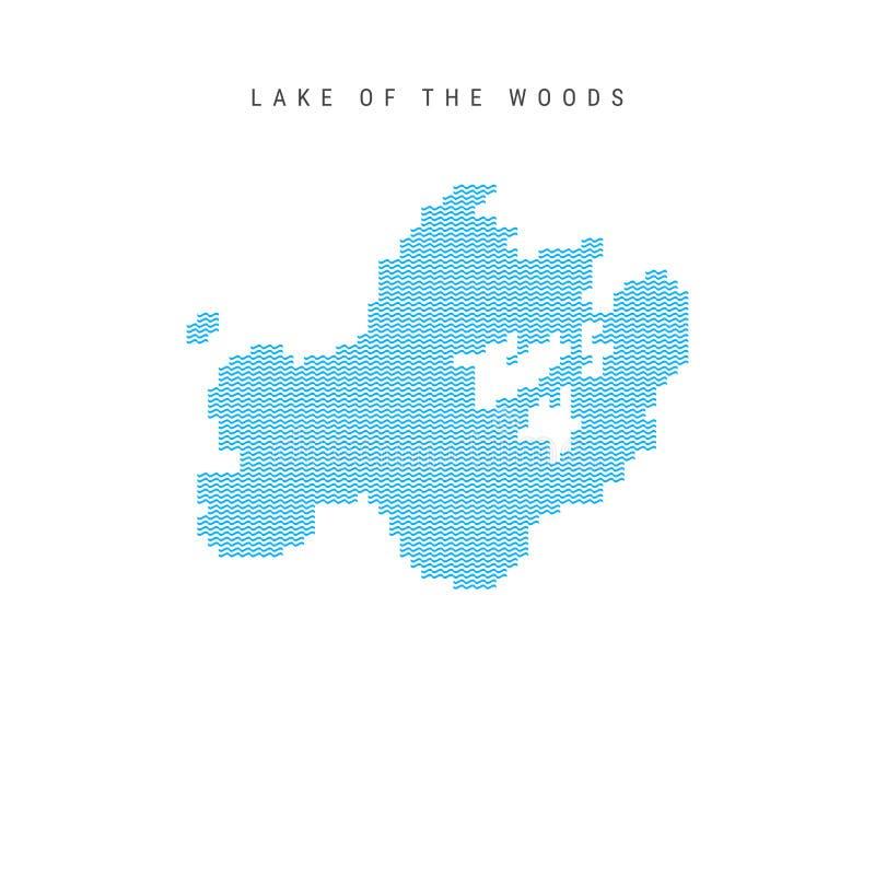 Wektorowa Błękitna Falowego wzoru mapa jezioro drewna Falista linia wzoru sylwetka jezioro drewna ilustracji
