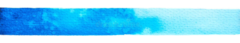 Wektorowa błękitna farby tekstura odizolowywająca na bielu - akwarela horyzontalny sztandar dla Twój projekta zdjęcia royalty free