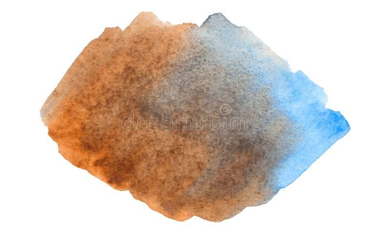 Wektorowa błękitna i brąz farby tekstura odizolowywająca na bielu - akwarela sztandar dla Twój projekta zdjęcia royalty free