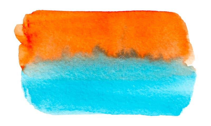 Wektorowa błękitna i pomarańczowa farby tekstura odizolowywająca na bielu - akwarela sztandar dla Twój projekta royalty ilustracja