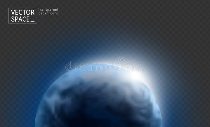 Wektorowa błękitna planety ziemia z wschód słońca w ciemnej przestrzeni odizolowywającej na przejrzystym tle Błękitna kuli ziemsk royalty ilustracja