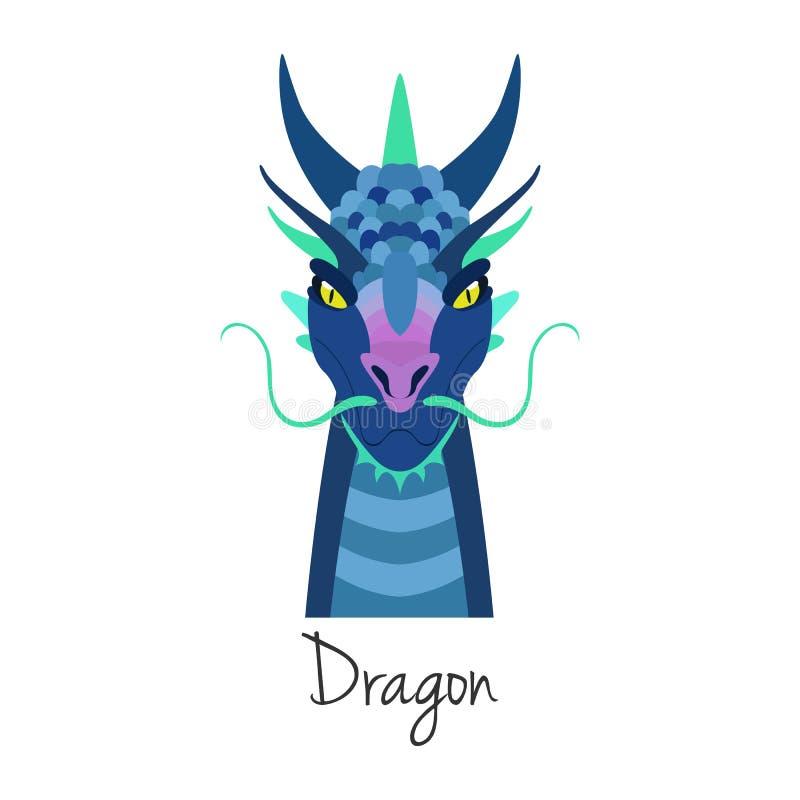 Wektorowa błękitna smok twarz odizolowywająca Zwierzę Chiński zodiaka symbol ilustracji